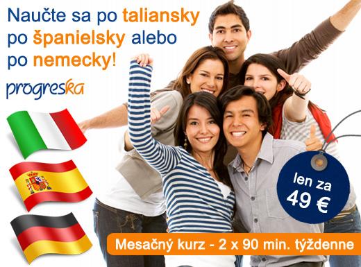 Fotka zľavy: Naučte sa cudzie jazyky! Intenzívny mesačný kurz taliančiny, španielčiny alebo nemčiny 2x90 min týždenne v jazykovej škole Progreska len za 49 € !