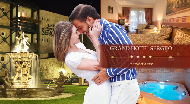 Doprajte si relax vo dvojici v 4* Grand Boutigue Hoteli SERGIJO v Piešťanoch iba za 159€. Užite si Wellness centrum, masáže a pochúťky v reštaurácii LA REINE. Platnosť do 30.11.2014.